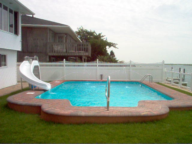 Inground Pools With Slide Intended In Ground Pool With Step Slide And Pavers Inground Step Slide Pavers Longislandswim