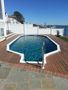 Semi Inground Swimming Pool Walk In Steps Longislandswim